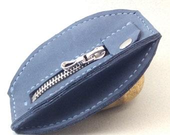 men or women blue leather wallet