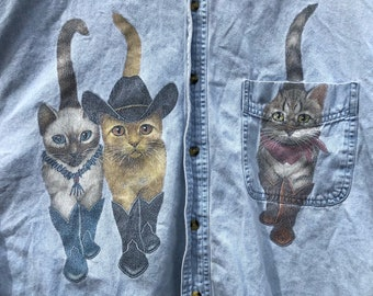 large-90s button down chambray cowboy cat shirt