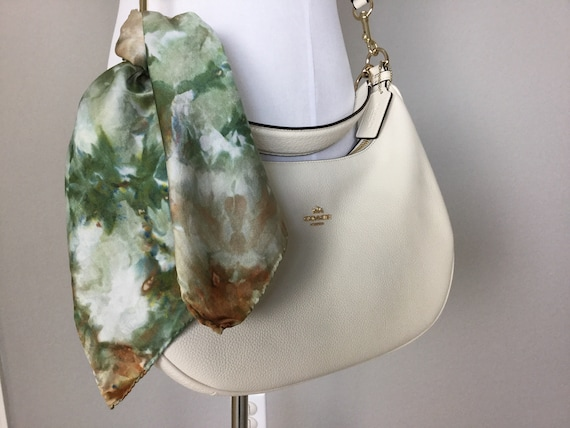 "20"" Purse Scarf or Luggage Identifer, 100% Silk Satin,  Ice Dye Tie Dye Olive Green Browns Camo Purse Scarves #204"