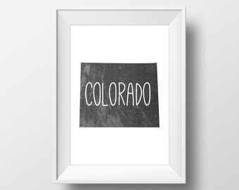 Colorado State Black Chalkboard Printable Art, Colorado Print, Colorado Art, Modern Art,
