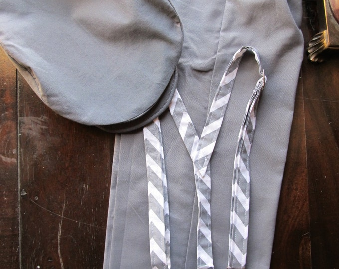 Cotton Ring Bearer Outfit; 3 Piece Set: Ring Bearer Suspenders, Newsboy Hat, and Pants. Wedding Outfit for Ringbearer