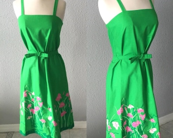 1970's Malia of Honolulu Green and Hot Pink Floral Preppy Dress