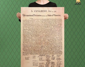 The Declaration of Independence, Founding Fathers, Vintage Finish, Custom Raised Canvas Art Piece