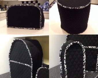 Black and White Small Appliance Covers Set Quilted Fabric Build Your Own Dust Covers Collection Made To Order