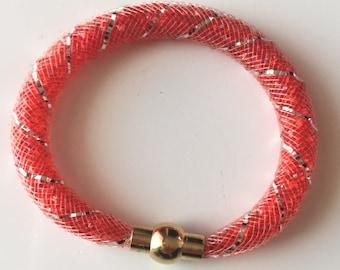Bracelet mesh tubular Red