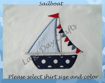 Sailboat - Short Sleeve Appliqued Tshirt - Infant and Toddler Size Tshirt - 6 months to 5/6