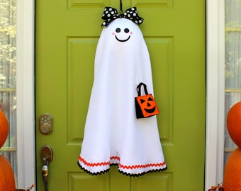 Halloween Wreath - Ghost Wreath - Halloween Party Decor - Choose Face- Choose Bow