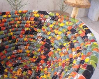Coiled Fabric Basket - Catchall, Organizer, Handmade by Me, Black, Slate Blue, Yellow, Orange