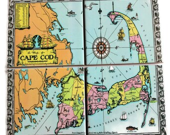 Cape Cod Map Coasters_Colorful Personalized Coaster Set_Vacation House Decor_Custom Travel Gift_Hostess Gift_Wedding Favor_Engagement Gift