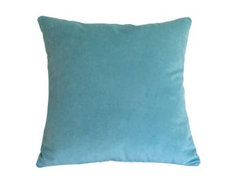 Aqua Blue Velvet Suede Decorative Throw Pillow Cover / Pillow Case / Cushion Cover / 18x18""