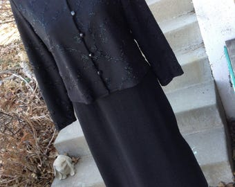 Vintage ladies  K Petites black beaded full length dress and jacket size 12 perfect for mother of the bride free domestic shipping