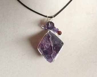 Wire Wrapped Fluorite Octahedron Crystal Pendant