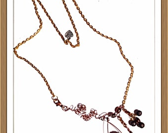 Handmade MWL copper, wire and beaded necklace. 0132