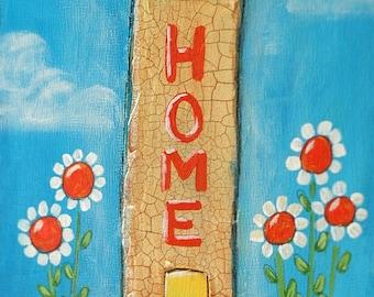 HOME Whimsical Acrylic Painting, 6x12