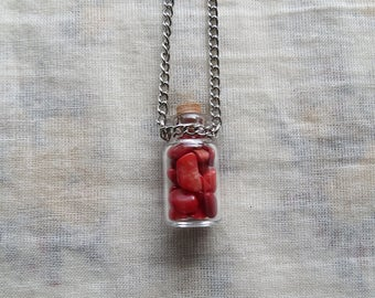 bamboo coral small glass bottle necklace