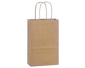"12 Small Kraft Paper Gift Bags, Kraft Gift Bags with Handles, Kraft Handle Gift Bag .  5-1/4""x3-1/2""x8-1/4"" Rose"