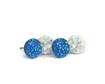 2 Pair Set of Glitter Stud Earrings in Glitter Blue and White, Titanium or Stainless Steel Posts