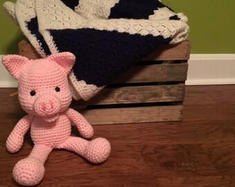 Handmade Amigurumi Crocheted Pig