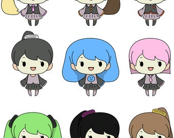 Chibi Girls - Happy - Digital Character Set
