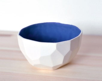 Modern porcelain breakfast bowl - soup bowl handmade in polygons out of porcelain- facetted design - Poligon colored bowl - Cobalt blue