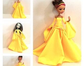 Canary Yellow Goth Dress, Belt, Armbands made to fit Articulated Monster High Dolls / Ever After High Dolls - Handmade Doll Clothes