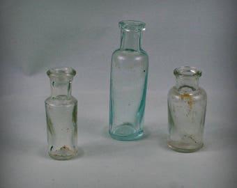 Set of 3 Antique  glass bottle , medical or laboratory bottle . Vintage medical glass  bottle