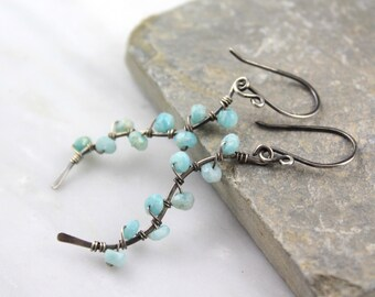 Amazonite Wrapped Silver Vine Earrings Dangle Aqua Blue Stone