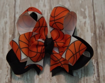 """Boutique Basketball Layered 4"""" Hair Bow Can Be Customized With Team Colors"""