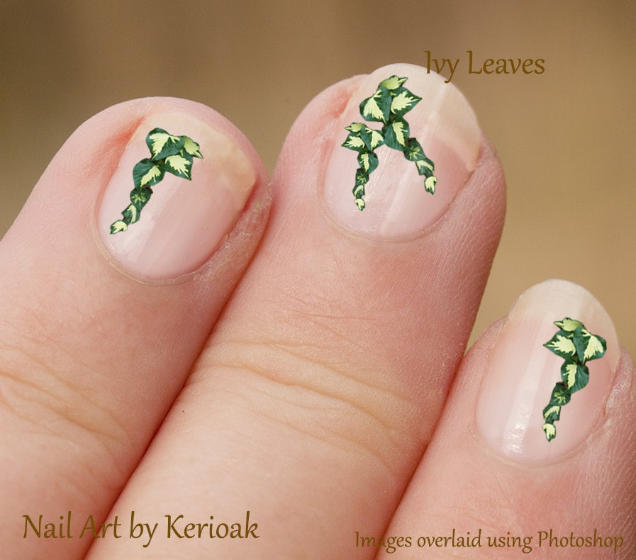 Ivy Leaf Nail Art, Ivy leaves Nail Art Stickers, fingernail decals ...