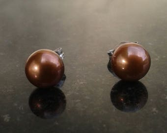 Classic Bronze  5 mm   Natural Cultured Pearl Earrings