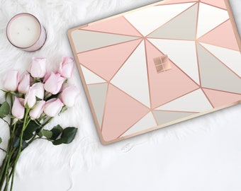Geometric Pastel Shades and Rose Gold Edge Vinyl Skin for Microsoft Surface Book , Surface Laptop , Surface Pro 2017  - Platinum Edition