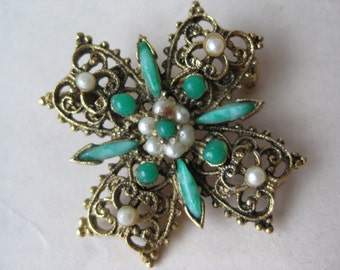 Flower Turquoise Blue Pearl Brooch Gold Filigree Vintage Pin Cross