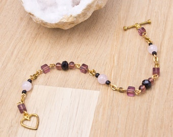 Rose Quartz bracelet - Gemstone and Purple cube bead gold chain bracelet with heart clasp | Pink Quartz jewellery | Purple bead bracelet