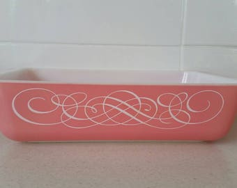 Vintage Pyrex Pink Scroll space saver oblong casserole dish
