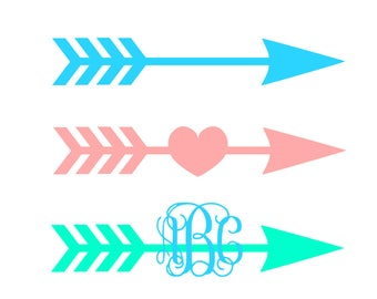 Arrows Svg Arrow heart SVG Monogram svg Vector cut file cutting file for Cricut Explore Silhouette Cameo dxf files svg files eps