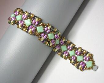 Tutorial - Pistachio bracelet - Silky and O Czech beads beading tutorial