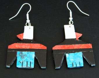 Native American Santo Domingo Turquoise Apple Coral Jet MOP Sterling Silver Thunderbird Earrings Chaslyn Crespin