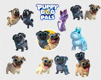 Puppy Dog Pals Clipart, 11 High Quality PNG Images with Transparent Backgrounds, 300 DPI, Clip Art