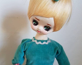 Vintage 1960's Mod Bradley Pose  doll Extra tall green velvet Dress posey on Stand Big Eyes Margaret Keane  Kitsch Made In Japan
