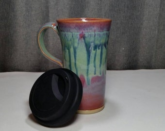 IN STOCK*Pottery Travel mug / Commuter mug with silicone lid - Violet Rain