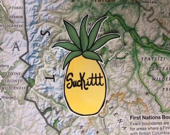 Psych Pineapple Suck It Vinyl Sticker
