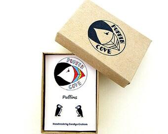 Puffin Earrings, Bird Studs, Birds, Nature, Gift for Her, For Mum, Jewellery, Girls's Gift, Wildlife, Seabird, Nature,