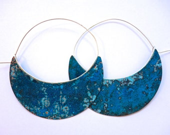 Large Copper Patina Hoops