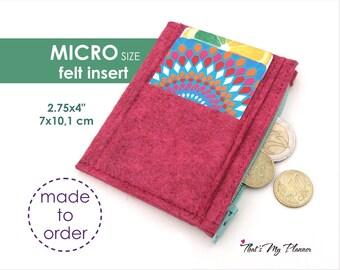 Traveler's Notebook insert MICRO size - Felt Zip Up Wallet Card Holder - Pencil Case - Midori Insert