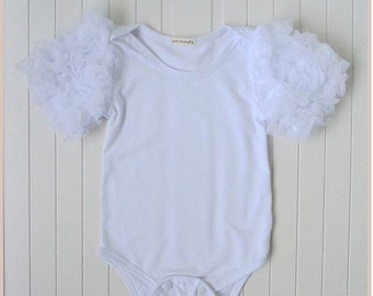 Ruffle sleeve birthday romper babygrow white ballet party gift