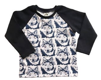 Kids Wolf Raglan, wolf print shirt, animal print baseball tee, toddler raglan shirt, baby wolf clothing, toddler animal print shirt,