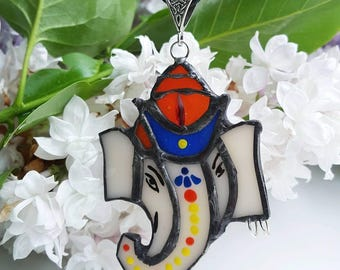 Glass elephant, glass pendant necklace, stained glass pendant, pendant elephant, goddess jewelry