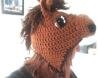 Cute Brown Crochet Horse Hat with Earflaps and Braids