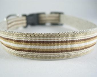 Brown Stripes hemp dog collar or leash