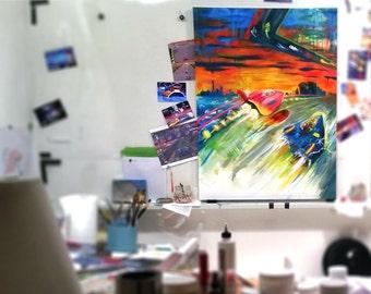 "My 8-bit Whip by Brenner 30""x40"" Classic Nintendo F-Zero original Painting , old-school, Gamer Art, Gameroom Decor, Man Cave, New FZero"
